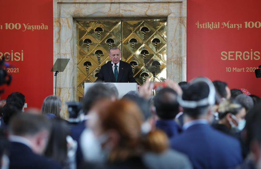 """Cumhurbaşkanı Erdoğan, """"100.Yılında İstiklal Marşı Sergisi""""nin açılışını yaptı"""